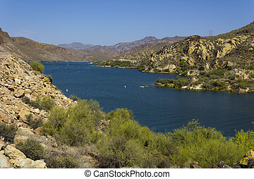 Canyon Lake, Arizona - Shore line of Canyon lake...