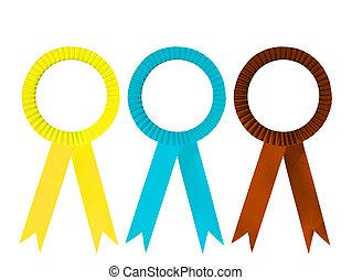 Ribbon award isolated - Yellow brown and blue ribbon award...
