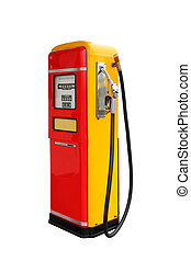 Red and yellow vintage gasoline fuel pump ,clipping path