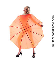 Smiling young woman with umbrella