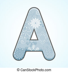 Vector Christmas letter A on blue background. Eps 10