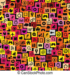 Modern color social media icons seamless texture