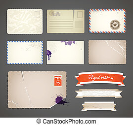 Vintage postcard and ribbons templates collection