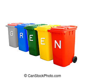Colorful recycle bins with green wording concept - Green...