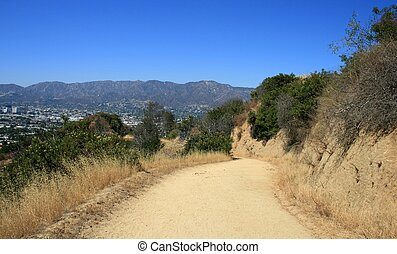 Skyline Trail - Dirt road on a hillside in Griffith Park