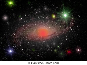 Far away spiral galaxy - Stars and spiral galaxy in a free...
