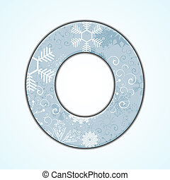 Vector Christmas letter O on blue background. Eps 10
