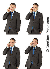 Businessman talking on the phone different expressions