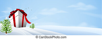 Giant Christmas gift banner background - Illustration of a...