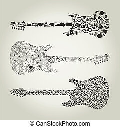 Guitar8 - Set of guitars for design. A vector illustration
