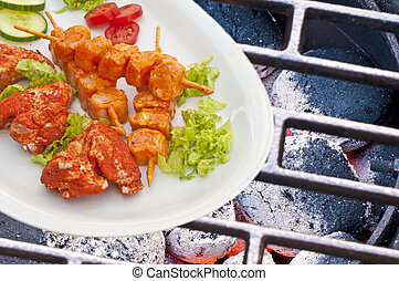 Barbecue with marinated meat