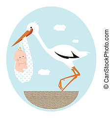 Stork and baby - Stork and newborn baby in nest