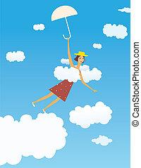 Flying girl with umbrella
