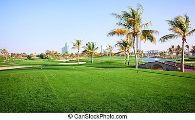Landscape of green golf course