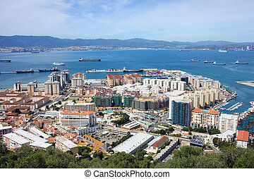 Gibraltar Town and Bay - Gibraltar town urban scenery and...