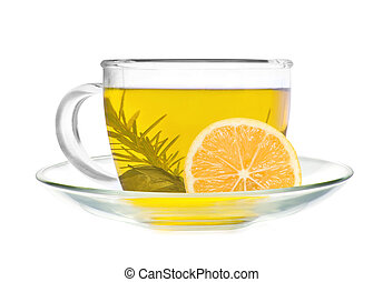 cup of green tea with lemon slice isolated on white