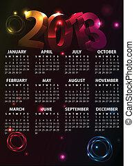 calendario, vettore,  2013