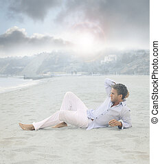 colocar, playa, hombre