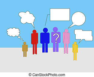 Group chatting - Group of people chatting using different...