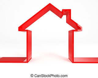 red house on white background