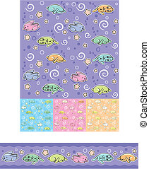 Seamless pattern with sleeping rabbits