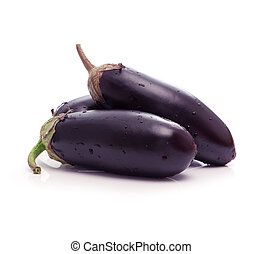 black eggplants isolated on white