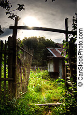 Old Philippine Farm House - a photo of a bamboo-made gate to...