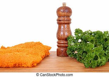 Wiener Schnitzel on cutting board - Wiener Schnitzel on...