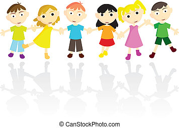 children background - little children holding hands for...