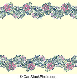 Seamless floral edging pattern-delicate interlacing branches...