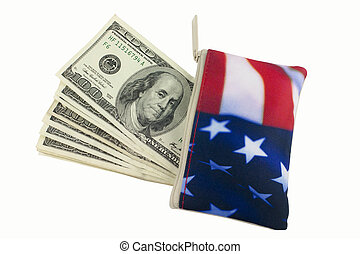 American Flag Wallet with 100 dollar bills - American Flag...