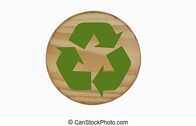 Recycling Symbol on Wood