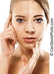 Womans face correction Closeup portrait half-and-half