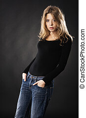 Seductive model in casual clothing