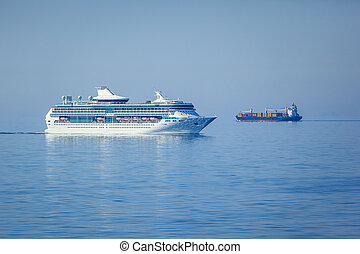 ships in the blue sea - An image of two ships in the blue...