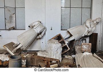 broken statues heroic figures - ATHENS - FEBRUARY 3: Broken...