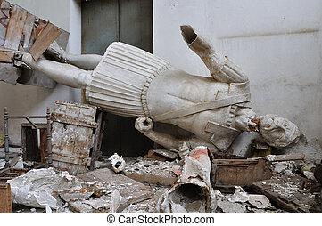 quebrada, estátua, gigantesco, figura, antiga, Deus