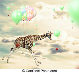 Ingenious giraffe reaching an apple flying using balloons -...