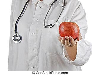 Apple in doctors hand