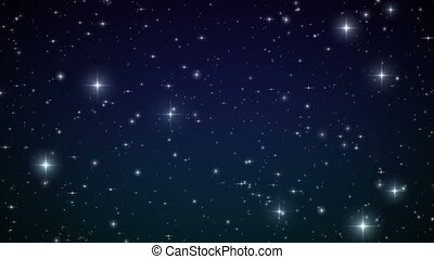 Stars in the sky Looped animation Beautiful night with...