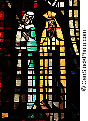 Stainied glass - Stained glass in Notre Dame de Lourdes,...
