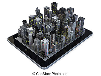 Tablet city - Modern city on a tablet
