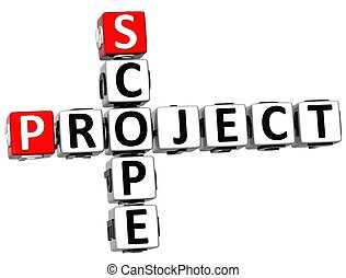 3D Scope Project Crossword on white background