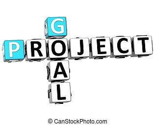 3D Goal Project Crossword on white background