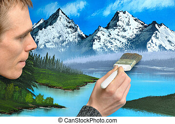 Artist creating a landscape painting - Male artist working...