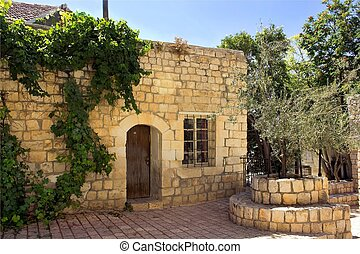 old stone house in the Jewish religious quarter in Safed,...