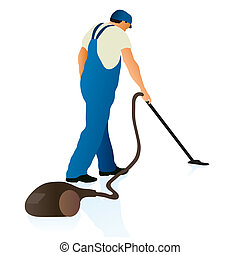 Professional cleaner with vacuum cleaner