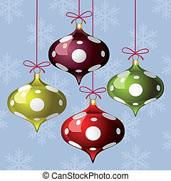 Christmas background with three colorful polka dot balls and...