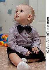 peu, cravate, arc, petit, enfant, bébé