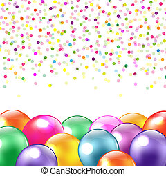 Balloons And Confetti, Isolated On White Background, Vector...